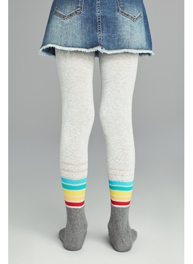 Penti Pretty Stripemuch Külotlu Çorap Gri